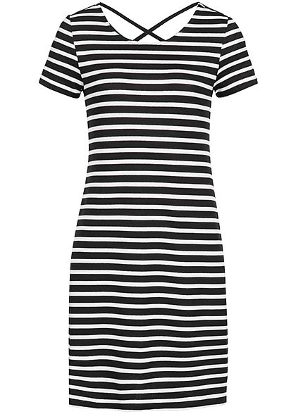 ONLY Damen Mini Dress Striped Back Side String NOOS schwarz cloud dancer weiss