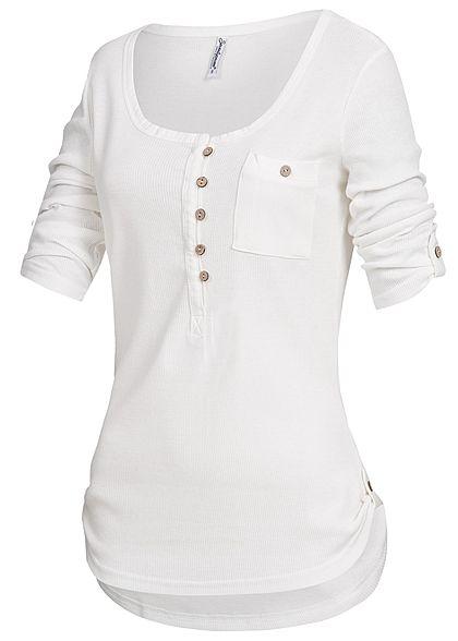 Seventyseven Lifestyle Damen 3 4 Arm Turn-Up Shirt Struktur Muster  Brusttasche off weiss - 77onlineshop 3b0b7454a0