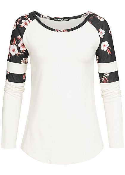 Styleboom Fashion Damen Longsleeve Flower Print weiss