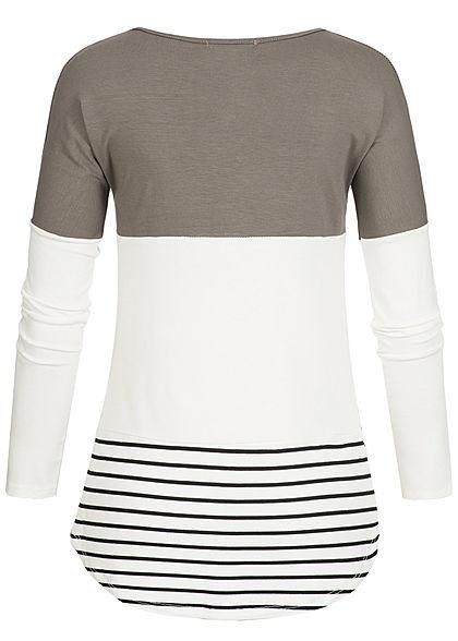 Styleboom Fashion Damen Colorblock Streifen Longsleeve fango braun weiss schwarz