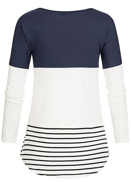 Styleboom Fashion Damen Colorblock Streifen Longsleeve navy blau weiss schwarz