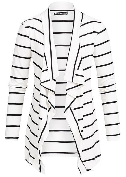 e1f488e7385cf4 Styleboom Fashion Damen Cardigan Kunstlederpatch Streifen weiss schwarz -  77onlineshop