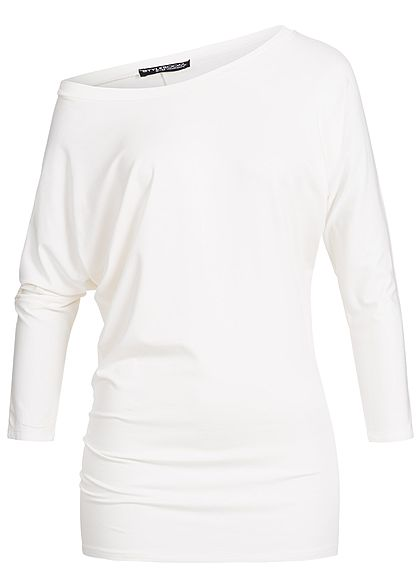 Styleboom Fashion Damen Longsleeve Fledermausärmel Shirt off weiss