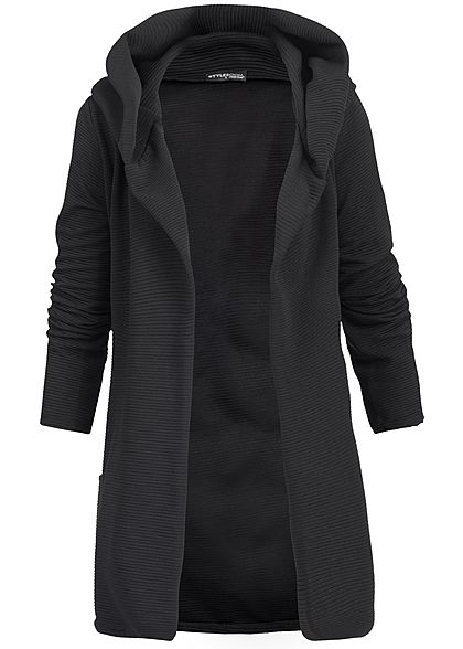 Styleboom Fashion Damen Long Hooded Cardigan schwarz