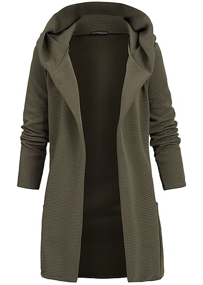 Styleboom Fashion Damen Long Hooded Cardigan verde military olive