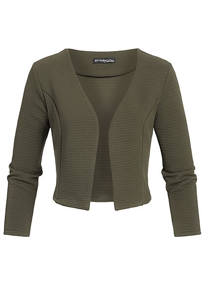 Styleboom Fashion Damen Short Bolero verde military grün