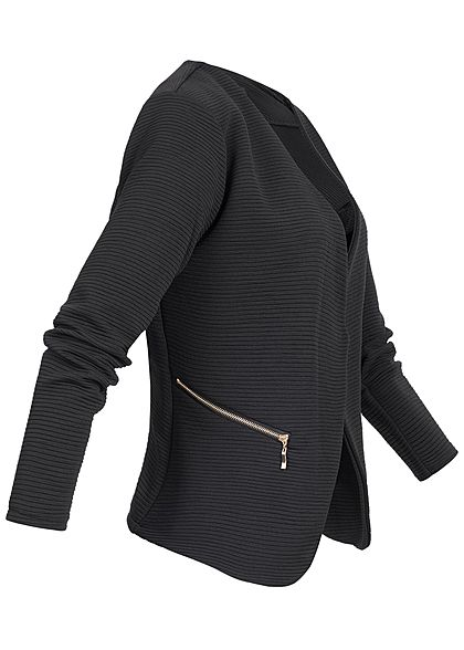 Styleboom Fashion Damen Ripped Blazer 2-Zip Pockets schwarz