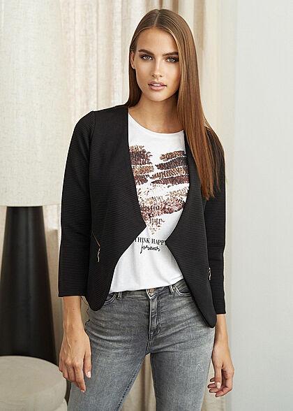 Styleboom Fashion Damen Ripped Blazer 2 Deko Zip Taschen schwarz
