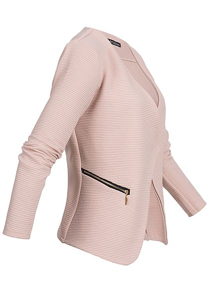 Styleboom Fashion Damen Ripped Blazer 2-Zip Pockets rosa