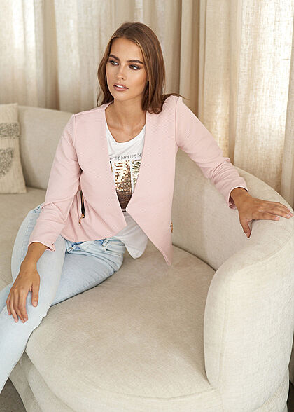 Styleboom Fashion Damen Ripped Blazer 2 Deko Zip Taschen rosa