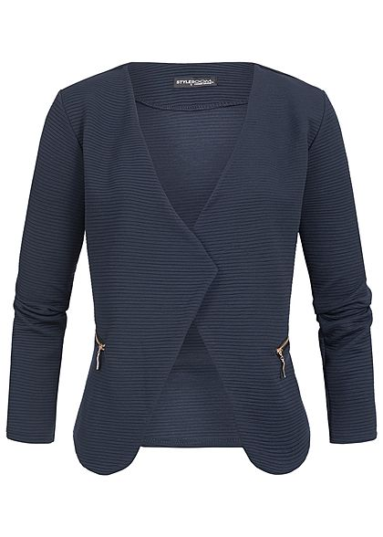 Styleboom Fashion Damen Ripped Blazer 2-Zip Pockets navy blau