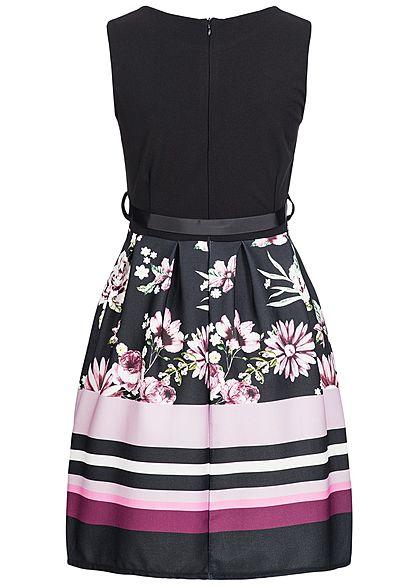 Styleboom Fashion Damen Mini Dress Belt Flower Print schwarz pink