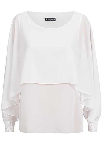 Styleboom Fashion Damen Chiffon Top 2-Lagig Fledermaus Ärmeln weiss