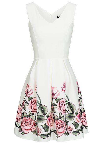 Styleboom Fashion Damen Mini Kleid Blumen Print Mesh Detail Schleife ...