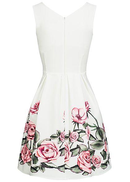 Styleboom Fashion Damen Mini Dress Rose Print weiss rosa