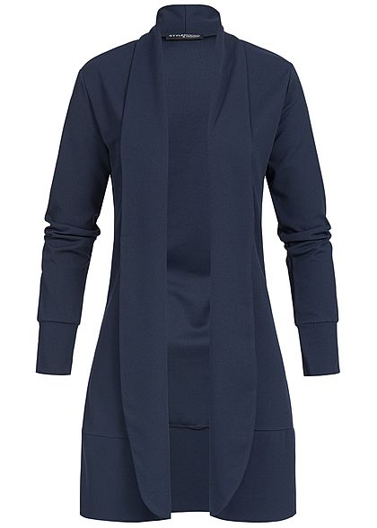 Styleboom Fashion Damen Longform Basic Cardigan offener Schnitt navy blau