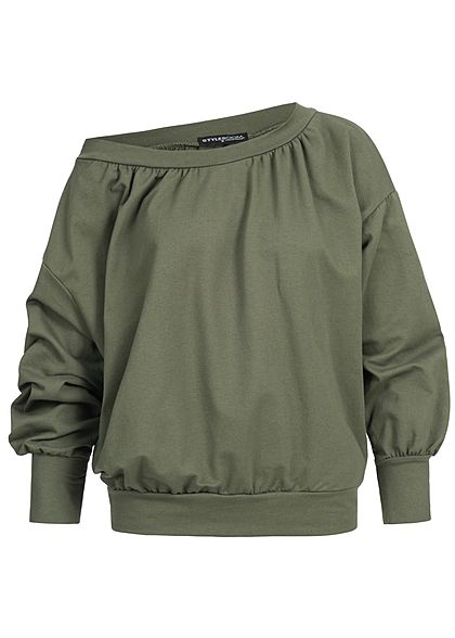 Styleboom Fashion Damen Longsleeve Oversize Off Shoulder military grün