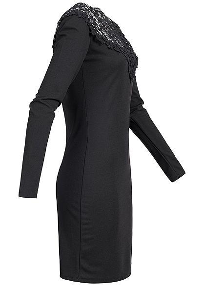 Styleboom Fashion Damen Mini Kleid Langarm Spitze schwarz