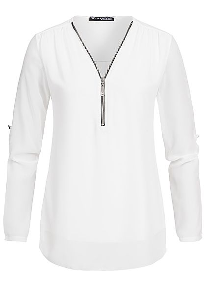 Styleboom Fashion Damen Turn-Up Bluse Zipper off weiss