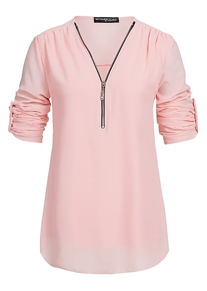 Styleboom Fashion Damen Turn-Up Bluse Vokuhila Zipper vorne rosa