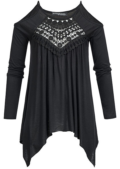 Styleboom Fashion Damen Longsleeve Off Shoulder Shirt Spitzeneinsatz Vorne schwarz