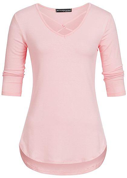 Styleboom Fashion Damen 3 4 Arm Shirt Deko Schnurung Vorne Rosa