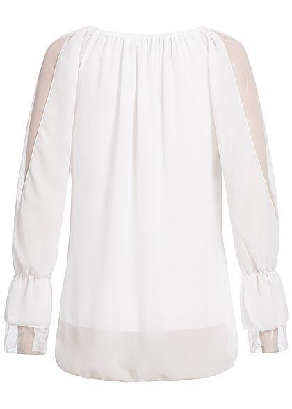 Styleboom Fashion Damen Langarm Chiffon Top 2-Lagig weiss