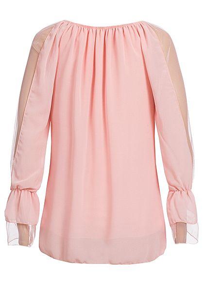 Styleboom Fashion Damen Langarm Chiffon Top 2-Lagig rosa