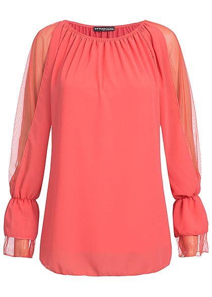 Styleboom Fashion Damen Langarm Chiffon Top 2-Lagig coral