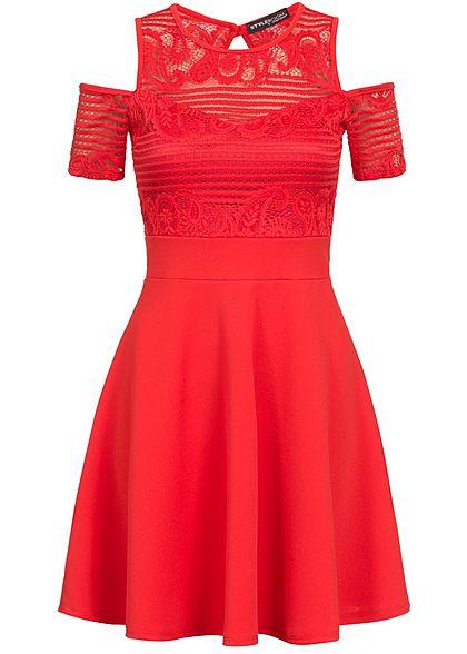 32e5e6cee0deed Styleboom Fashion Damen Kleid Off Shoulder Spitze oben Rückenausschnitt rot
