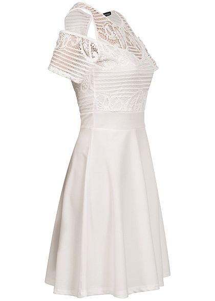Styleboom Fashion Damen Kleid Off Shoulder Spitze oben Rückenausschnitt weiss