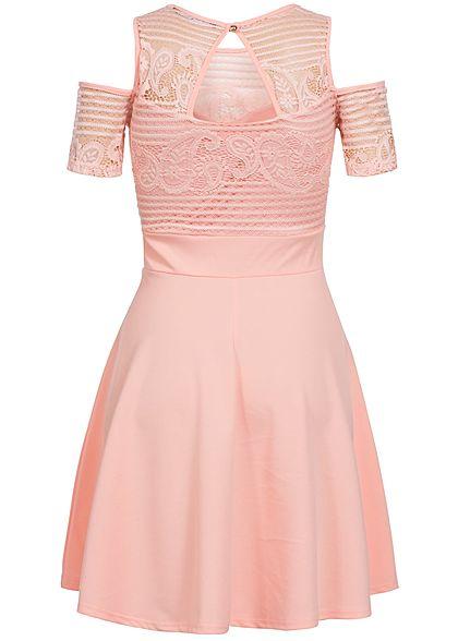 Styleboom Fashion Damen Kleid Off Shoulder Spitze oben Rückenausschnitt rosa