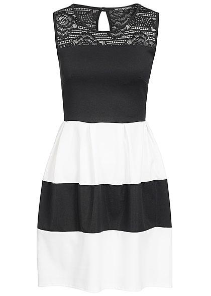 Lieblings Styleboom Fashion Damen Mini Kleid Spitze oben Brustpads gestreift #RF_93