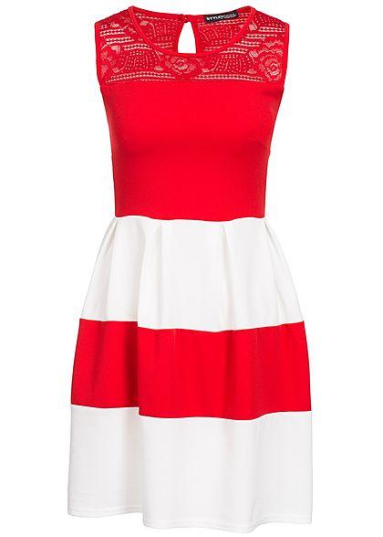 best authentic eac85 849fa Styleboom Fashion Damen Mini Kleid Spitze oben Brustpads gestreift rot weiss
