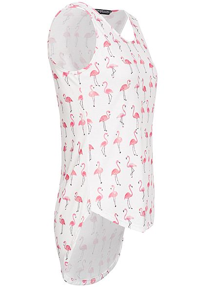 Styleboom Fashion Damen Tank Top Flamingo Print Vokuhila weiss pink