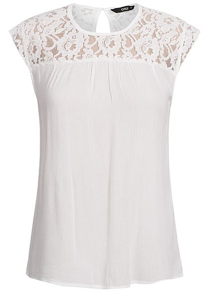 ONLY Damen Lace Top NOOS cloud dancer weiss