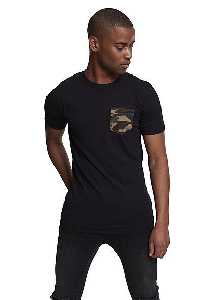 Urban Classics Herren T-Shirt mit Camo Brusttasche schwarz