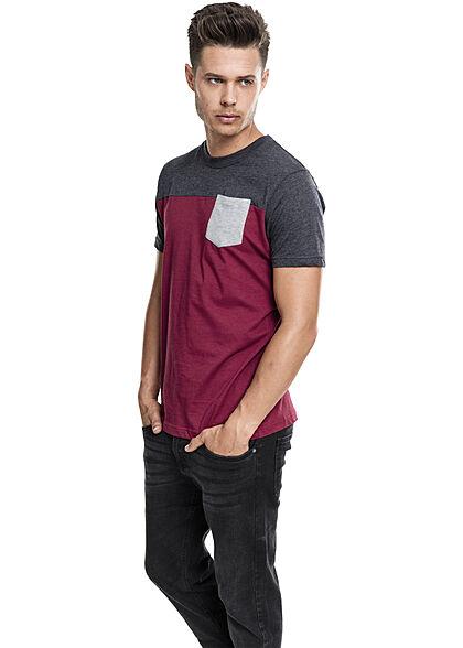 Urban Classics Herren T-Shirt dreifarbig mit Brusttasche burgundy rot