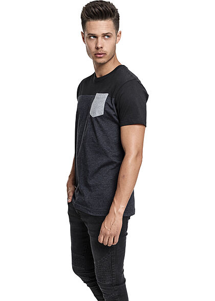 Urban Classics Herren T-Shirt dreifarbig mit Brusttasche dunkelgrau