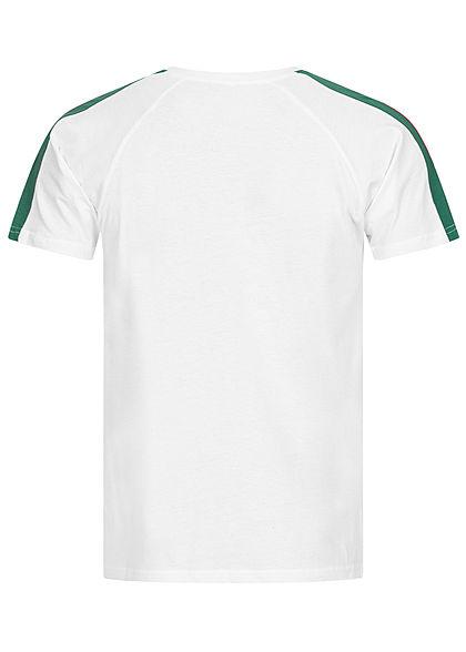 Seventyseven LifestyleTB Men Basic T-Shirt mit zweifarbigen Ärmelstreifen weiss rot grün