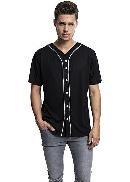 Urban Classics Herren Baseball Trikot farblich abgesetzte Knopfleiste schwarz
