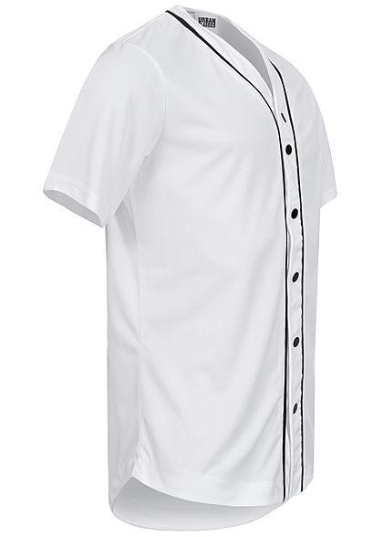 Urban Classics Herren Baseball Trikot farblich abgesetzte Knopfleiste weiss
