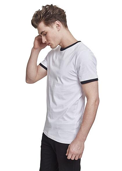 Urban Classics Herren T-Shirt mit Kontrastbund an Kragen und Ärmel weiss schwarz