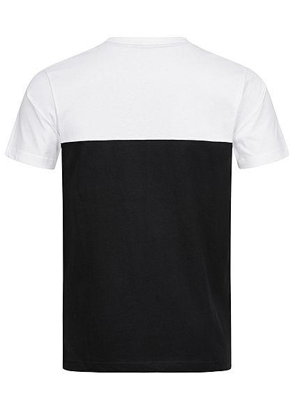 Urban Classics Herren T-Shirt Rundhals zweifarbig mit Brusttasche schwarz weiss