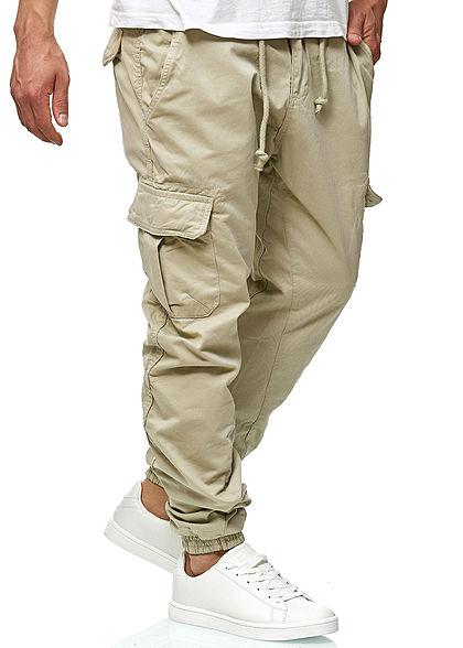 Seventyseven Lifestyle Herren Cargo Hose 6-Pockets Tunnelzug sand beige