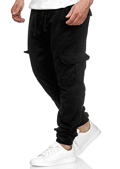 Seventyseven Lifestyle Herren Cargo Sweat Pants 6-Pockets schwarz