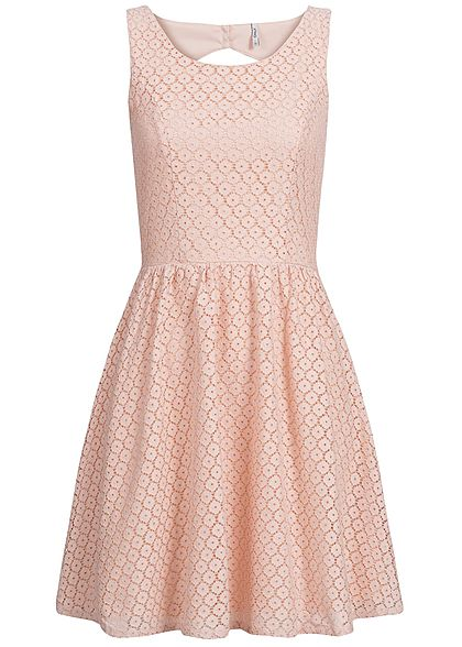 ONLY Damen Mini Kleid 2-lagig Häkelbesatz Allover Rundhals NOOS peachy keen rosa