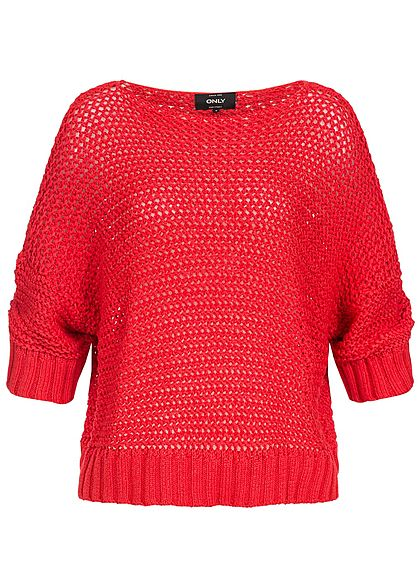 ONLY Damen 3/4 Arm Oversized Grobstrick Pullover flame scarlet rot
