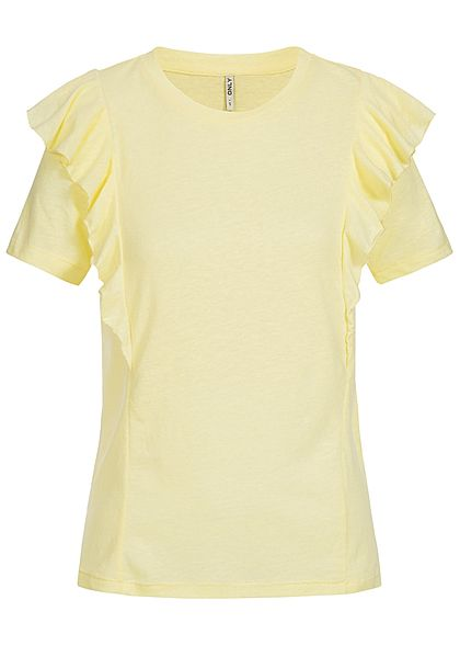 ONLY Damen T-Shirt mit Frill Detail pear gelb