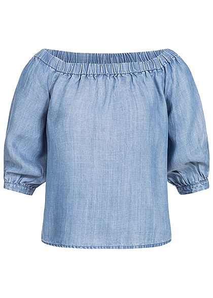 ONLY Damen Off Shoulder Top im Jeans Look lockerer Schnitt hell blau denim  - 77onlineshop e6bed6ed2f